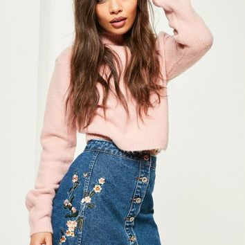 Missguided - Blue Embroidered A Line Skirt