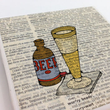 Ceramic Tile Coasters - Beer Bottle and Glass - Set of 4 - Upcycled Dictionary Page Book Art - Home Decor