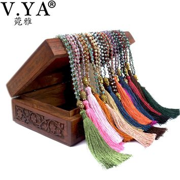 V.YA Gold Color Buddha Necklaces Women's Tassel Necklace Boho Jewelry Weaving Long Necklace Bijoux Femme