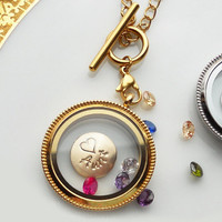 Mothers Day Yellow Gold Living Locket Necklace . Custom Gold Disc . 3 Gemstones . Toggle Chain . Personalized, Stamped, Mom Grandma  Gift