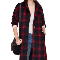 Red Plaid One Button Long Sleeve Long Coat