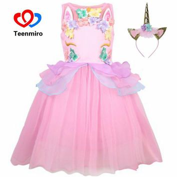 Teenmiro Flower Girls Dresses Kids Unicorn Party Princess Dress Halloween Cosplay Cute Girl Frocks Wedding Ball Gowns Robe Fille