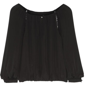 Alice + Olivia - Daroda lace-trimmed silk top