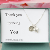Thank you gift box sterling silver necklace with heart and initial - thank you for being you  unique thank you personalized gift for hostess