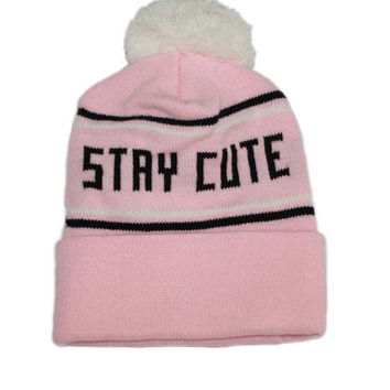 Stay Cute Stripe Pom Beanie