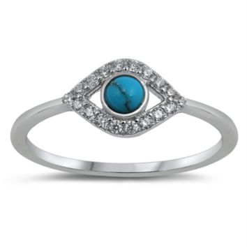 Eye Ring with CZ and Blue Turquoise Stone Size 5-10 in Sterling Silver