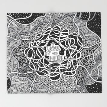 You Are Here Throw Blanket by Alliedrawsthings | Society6