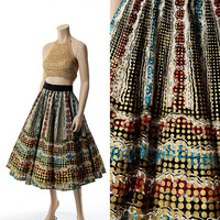 Vintage 50s Mexican Metallic Gold Hand Painted Circle Skirt 1950s Souvenir Rockabilly Atomic Dots Swing Full Skirt 1950s Mad Men Mod