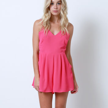 Ready To Embrace Romper - Fuchsia Pink