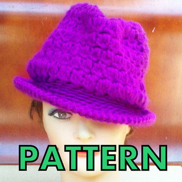 Pattern Crochet Hat Fedora Brim Womens by strawberrycouture
