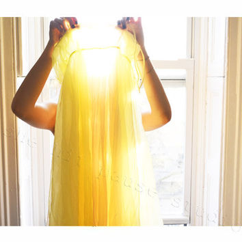 Whimsical Photograph of a Girl in a Vintage Yellow Dress drenched in Sunlight -11x14 Fine Art Print