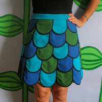 $85.00 Fishscale Mini skirt in blue and green Sz 6 by LoveToLoveYou