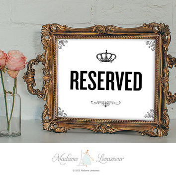 RESERVED sign printable sign restaurant sign instant download signs printable signage wedding signs DIY signs retro art print printable art