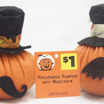halloween plush pumpkin with mustache Case of 24