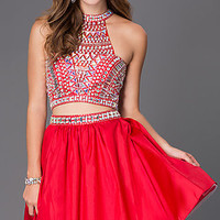 Two Piece Short Red Dress with Jeweled Bodice