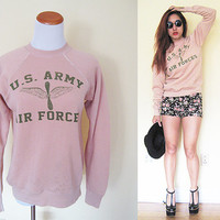 Vintage nude U.S Air Force sweater cream creme beige pullover jumper unisex