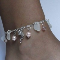 Flamingo Anklet with Sea Glass