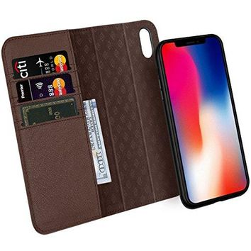 Zover iPhone X Case Detachable Genuine Leather Wallet Case With Auto Sleep/Wake Function Support Wireless Charging Magnetic Car Mount Holder Kickstand Feature Magnetic Closure Gift Box Dark Brown