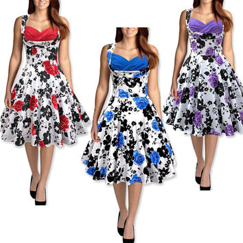 US Summer Floral Print Retro 50s 60s Casual Party Rockabilly Pinup Vintage Dress Women Ladies Swing Elegant Dresses