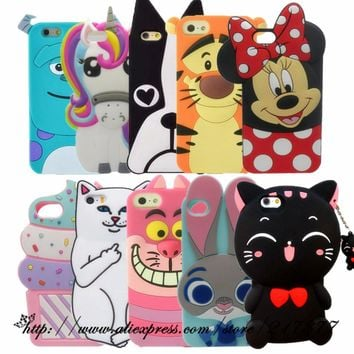 For Apple iPhone 5 5s 3D Cute Cartoon Sulley unicorn Cupcake Zebra Dog Soft Silicone Case Back Cover For iphone 5C SE phone case