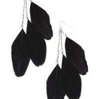 Black Feather Drop Earrings with Rhinestone Chain | Earrings