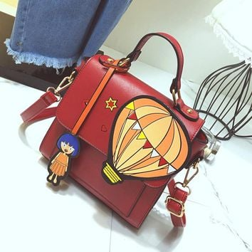 Cute Hot Air Balloon Cartoon Girl Flap Bag Fashion Print Women Handbag Shoulder Bag Tote Ladies Panelled Crossbody Messenger Bag