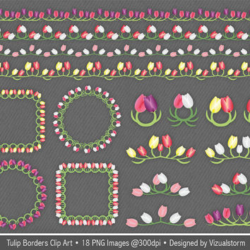 Spring Floral Borders Clip Art, colorful tulip frames & accents, digital spring flowers scrapbook, craft clipart elements, Buy 2 Get 1 Free
