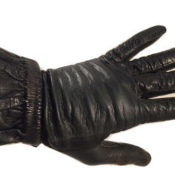 Black Leather Short Gloves Made in Czechoslovakia Luxurious Authentic Vintage 7