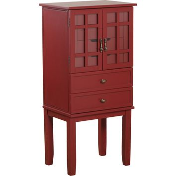 Red Glass Door Jewelry Armoire