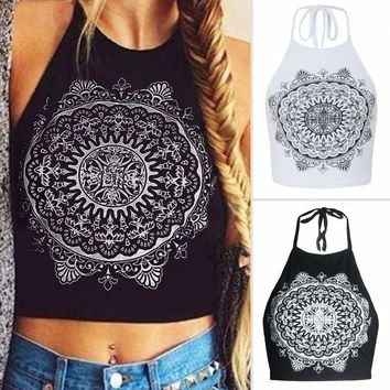 Sexy Women Summer Crop Tops Bandage Sleeveles Vest Top Shirt T-Shirt Cami Blouse