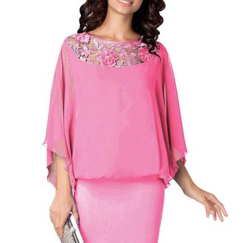 Pink Crochet Lace Detail Elegant Poncho Dress