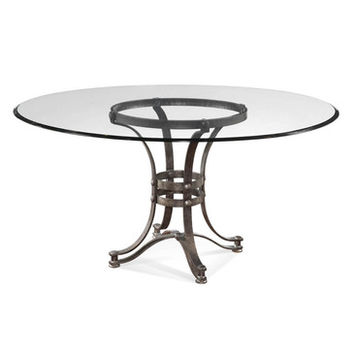Bassett Mirror Tempe Round Glass Dining Table w/ Metal Base