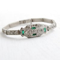 Antique Art Deco Emerald Green & Clear Rhinestone Bracelet- Vintage 1920s 1930s Silver Tone Formal Jewelry