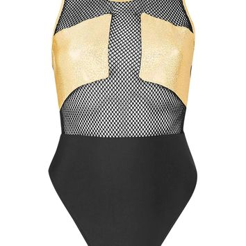 **Gold Holographic Mesh Swimsuit by Jaded London