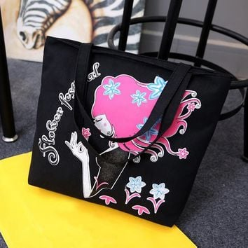 AEQUEEN Cartoon Cat Printed Tote Casual Large Canvas Handbag Portable Reusable Shopping Bag Zipper Women Shoulder Beach Bag 2017
