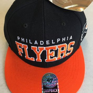 47 BRAND PHILADELPHIA FLYERS BLACK AND ORANGE RETRO FLAT BRIM SNAPBACK HAT