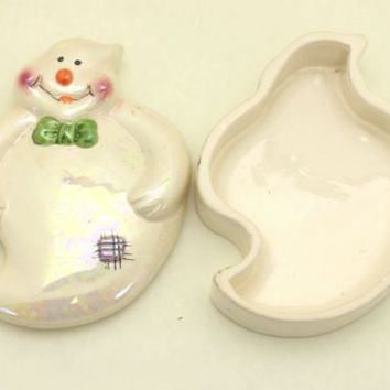Halloween Ghost Candy Dish Holographic Decoration Ceramic Container with Lid