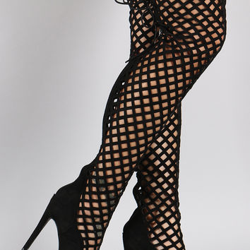 Suede Geometric Cutouts Peep Toe Stiletto Over-The-Knee Boots
