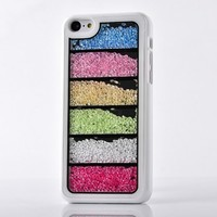 Iphone 5C Case,Case For Iphone 5C,#Uncle.Y Bling Hard Plastic Case Moving Colorful Beads Rainbow Bar Unique Style For Girls White