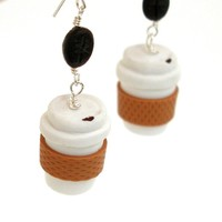 Take Cut Coffee Cup Dangle Earrings - Whimsical & Unique Gift Ideas for the Coolest Gift Givers