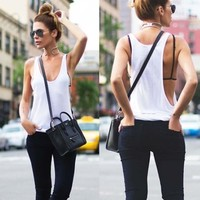 2017 Hot Sale Summer Women Sexy Cotton Vest Top Shirts Sleeveless Blouse Casual Loose Tank Tops T-Shirts Blusas Femininas White