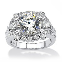 4.88 TCW Round Cubic Zirconia Platinum over Sterling Silver Engagement Anniversary Ring
