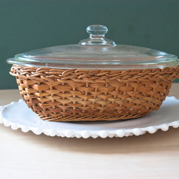 Vintage Glasbake Oval Baking Dish, Refrigerator Dish with Knob Lid, Wicker Holder