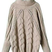 Gray High Neck Chunky Cable Long Sleeve Sweater - Choies.com