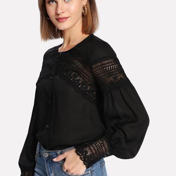 Lace Insert Bishop Sleeve Button Up Blouse