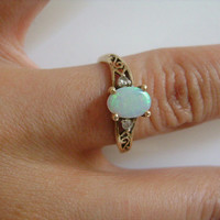 10K Yellow Solid Gold With Oval Round Cut Fiery Welo Opal Accented With 2 Tiny Diamond on Each Side Classic FiligreeRing Size 6 Fine Jewelry