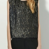 Nili Lotan sleeveless lace top black