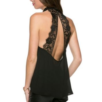 Poly Rose Skin With Wash High Neck Top With Back Lace Trim