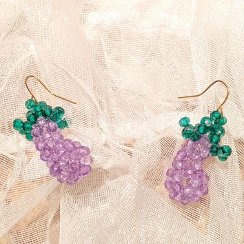 Eggplant Crystal Bead Earrings