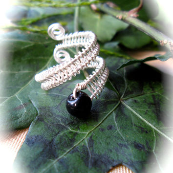 Black Agate Snake Ring, Wire Wrapped Silver, Adjustable Size, Coiled Snake Shape, Boho Wicca Ring, Herringbone Spiral Pattern